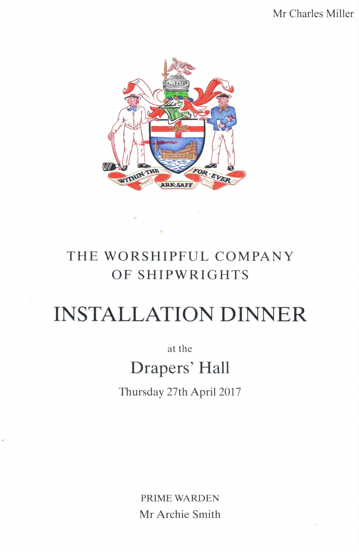 Shipwrights' Installation Banquet, Drapers' Hall