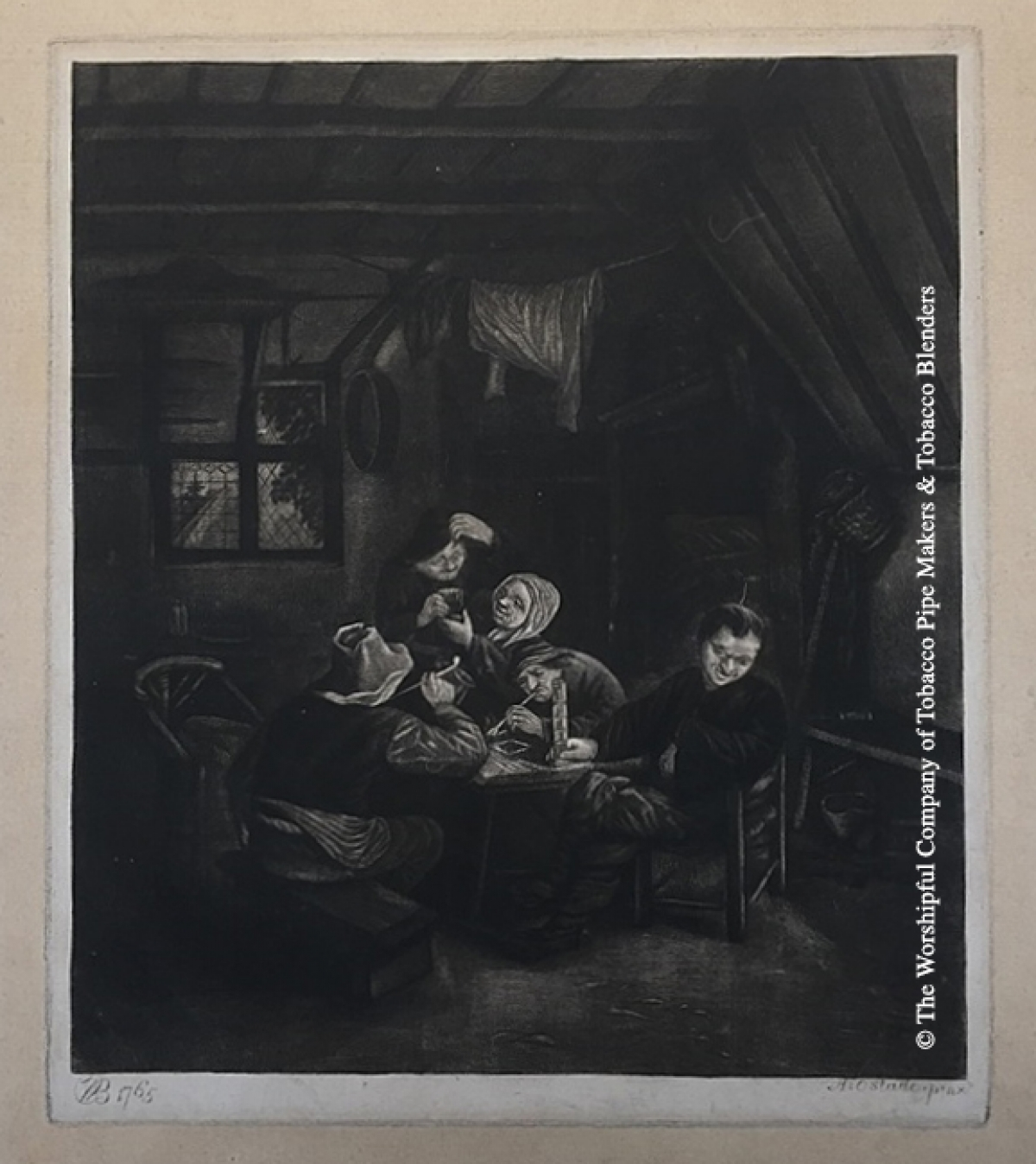 Group of people smoking and drinking